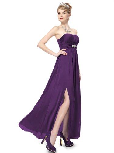 Ever Pretty Damen Diamant Schulterfrei Partykleid Brautjungfernkleid 09698  Violett