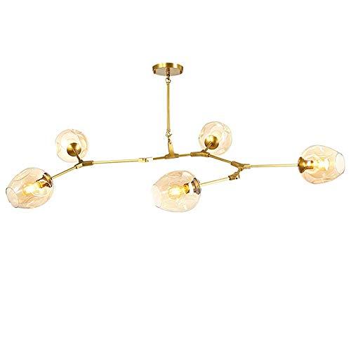 L.HPT Moderne Kronleuchter Beleuchtung Leuchten Lichter Möbel Esszimmer Restaurant Schmierstoffe Cristal Pendants Kronleuchter Lampe,Goldenpole,6Heads