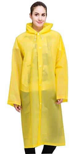 ColorRain Umwelt-freundliche EVA Frauen Mode Lässige Regenmantel (M, Gelb)
