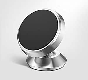 HIRATEK Universal Car Mount Magnetic Mobile Holder for Dashboard & Windshield, 360 Rotating Dashboard Mount Magnetic Mobile Phone Holder for Xiaomi Redmi, OnePlus, iPhone & All Smartphones (Silver)