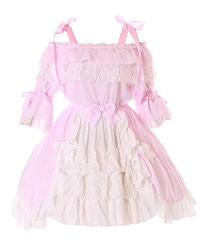 JL-665-2 Rosa Weiß Chiffon Rüschen Schleife Träger Kleid Sweet Gothic Lolita Kostüm Cosplay - Rosa Schleife Kostüm
