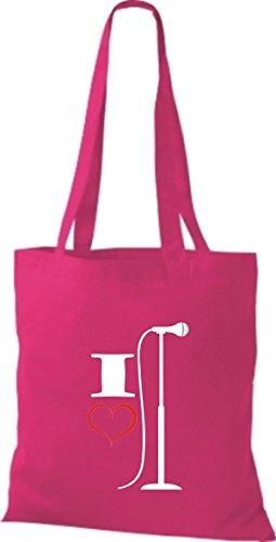 Shirtstown Stoffbeutel Musik I love Mikrofon Micro Mikrofonständer pink
