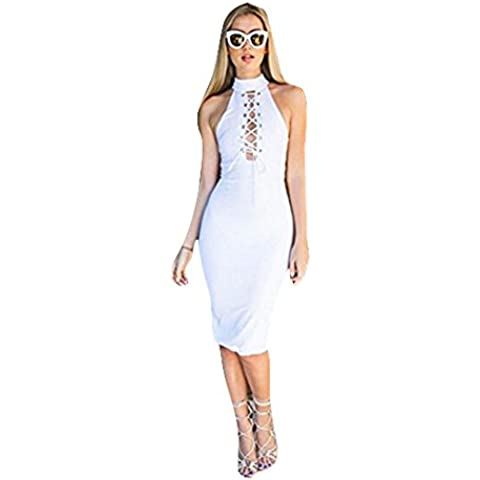 Fortan Le donne fasciatura sexy Club Bodycon maniche Cocktail Party Tie Up Dress