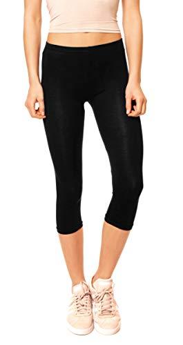 Easy Young Fashion Damen Basic Sommer Jersey Capri 3/4 Leggings Leggins Unterzieh Hose Kurz Baumwolle Stretch Einfarbig Uni One Size Schwarz - Capri Jersey