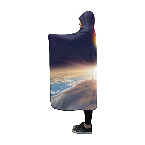 JOCHUAN Mit Kapuze überdeckter Angriff Asteroid On Earth Elements Diese Decke (60 x 50 Zoll) Comfotable Hooded Throw Wrap -