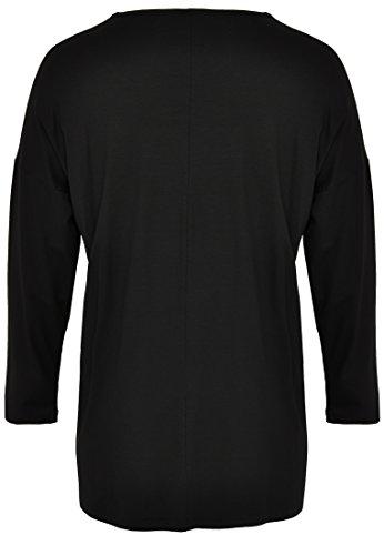 Yoek Damen Übergrößen Langarmshirt mit Druck Schwarz
