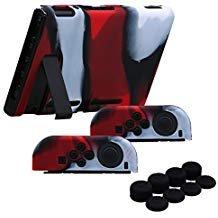 YoRHa Handgriff Silikon Hülle Abdeckungs Haut Kasten für Nintendo Switch/NS/NX Joy-Con controller und Tablette x 3 (Camouflage rot) Mit Joy-Con aufsätze thumb grips x 8 - Silikon-tabletten-kasten