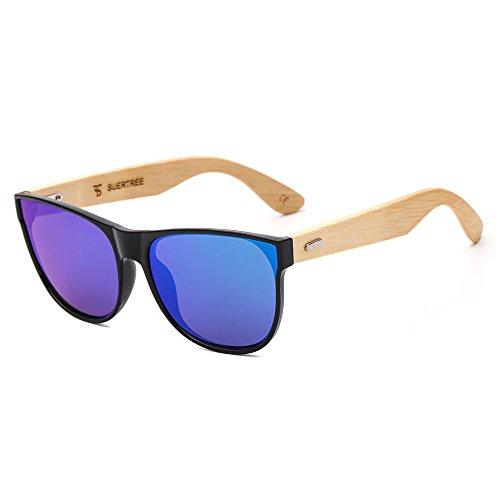 suertree Bamboo Sonnenbrille Vintage Shades Retro bewaldet UV400 schützen randlose Brille JH8004