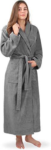 77356e0e21d480 normani Extra Langer Baumwoll-Bademantel | Weicher Sauna-Bademantel mit  Frottee für Damen - Öko Tex 100 - Premium Qualität Farbe Grau Größe XL