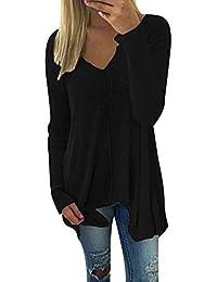 6dff94b38653 Zanzea Damen Langarmshirt V-Ausschnitt Lose Asymmetrisch Sweatshirt  Oversize Oberteil Tops