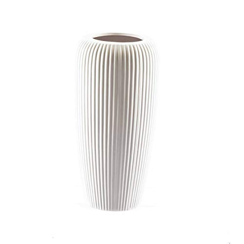 knuellermarkt.de Große Keramik-Vase gerillt matt weiß ca. 30 cm Blumenvase Übertopf Hochzeit Deko