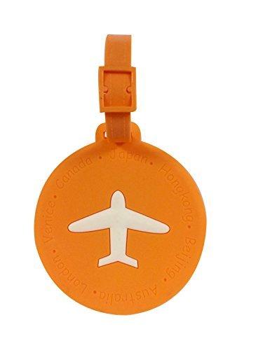 Preisvergleich Produktbild NOVAGO Gepäckanhänger - Lovely Identifikationsetikett Flagge Etikette für Koffer, Reisetasche, Rucksack, Schultasche (Runde Orange)