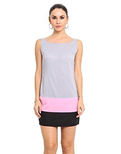 MSMB Grey & Light Pink & Black Coloured Polyester Short Dress Medium