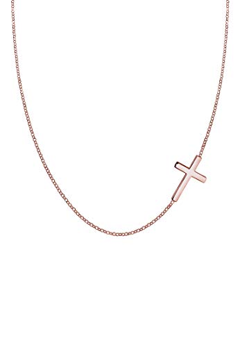 Elli Halskette Damen mit Anhänger Kreuz Religion in 925 Sterling Silber vergodet