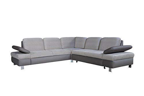 mb-moebel Ecksofa mit Schlaffunktion Eckcouch mit Bettkasten Sofa Couch Wohnladschaft L-Form Polsterecke Grau Malaga II