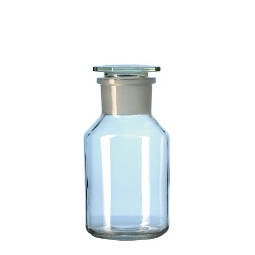DURAN 23 185 54 Standflasche aus Kalk-Soda-Glas, Weithals mit Normschliff und NS-Glasstopfen, Klar, 60/46 NS Hals, 1000ml Inhalt, 10 Stück
