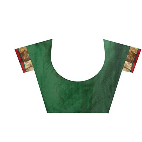 VJ FASHION Women's Cotton Silk Saree (VJS1139, Dark Green)