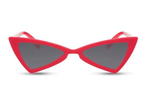 Cheapass Damen-Sonnenbrille Cat-Eye Rot Grau-e Gläser Designer-Brille Hochwertig UV-400 Frauen