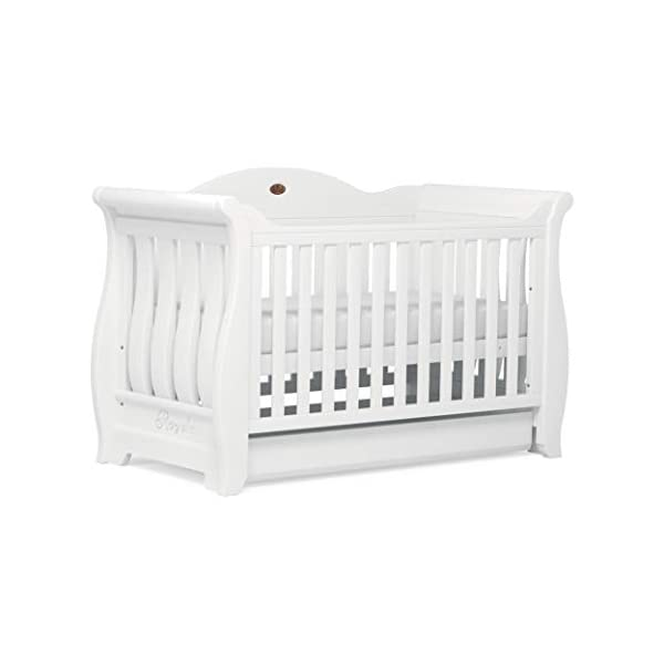 Boori Sleigh Royale 2 Piece Nursery Room Set, Wood, Barley White Boori Boori 2 piece nursery furniture set including the Sleigh Royale Cot Bed and Sleigh 3 Drawer Chest with removable changing station. Cot bed made with 100% sustainable solid wood, dresser made with sustainable solid wood parts. All Boori cot beds convert to a toddler bed suitable from birth to 5 years. (Toddler Guard Panel available separately). 5
