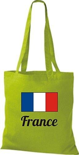 ShirtInStyle Stoffbeutel Baumwolltasche Länderjute France Frankreich Farbe Pink limegreen