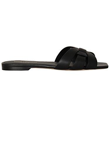 Saint-Laurent-Womens-472064BDA001000-Black-Leather-Sandals