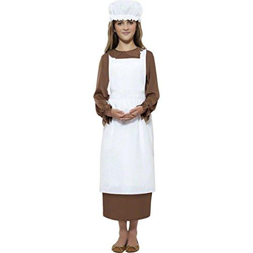 NET TOYS Kinder Magd Kostüm Mittelalter weiß Set Magdkostüm Magdhaube Mittelalterkostüm Maid Bäuerin Zofe Schürze und Haube