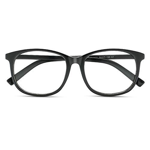 KOOSUFA Klassische Retro Brillengestelle Nerdbrille Herren Damen Federscharniere Brille Ohne Sehstärke Streberbrille Groß Rund Pantobrille Vintage Brillenfassung mit Etui (Matt Schwarz)