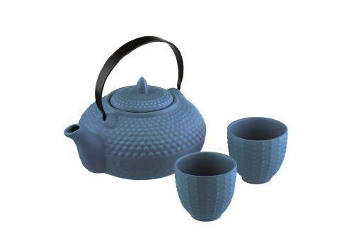 BIA Tetera de tacos y dos tazas Mizu Oriental azules