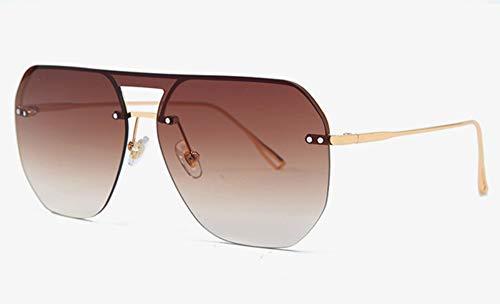 Sonnenbrille,EIN Stück Quadratische Sonnenbrille Frauen Die Hälfte Frame Metall Uv400 Farbverlauf Objektiv Randlose Sonnenbrillen Mann Sommer Gold Mit Braunem