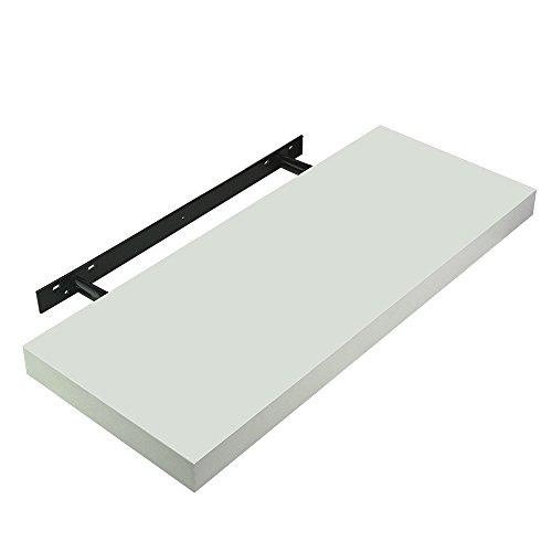 TANBURO Etagère Murale à Fixations Invisibles - 59,5 x 23,3X 3,7 cm - pour Livres CD DVD Design Rétro - Blanc