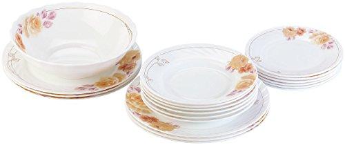 Rosenstein & Söhne Geschirr Set: Opalglas-Tafelservice mit Blumenmuster, 19-teilig (Speiseservice)