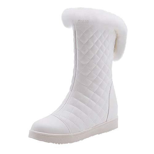 COZOCO Damen Flache Sohle Plüsch Mittlere Stiefel Einfarbig Gesteppte Winterstiefel rutschfeste Warme Schneestiefel(B-Weiß,38 EU