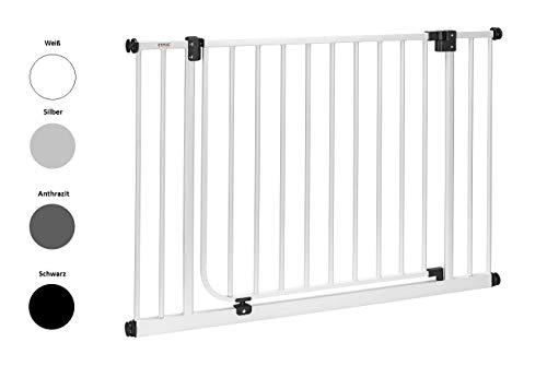 IMPAG Schutzgitter XXL mit 75 cm Türbreite   95 bis 243 cm   Treppenschutzgitter   Türschutzgitter   Absperrgitter   Klemmgitter   ohne Bohren   Automatik-Tür   90° Feststell-Funktion