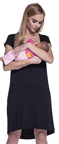 HAPPY MAMA. Damen Umstands-Nachthemd mit Stillfunktion. Stillshirt Kurzarm. 981p (Schwarz, 44-46, 3XL)