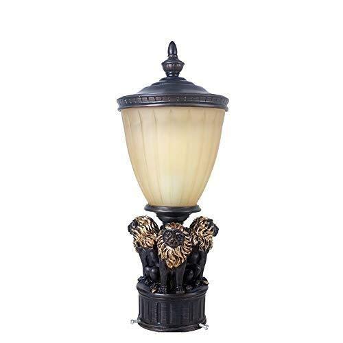 Antike Säule Licht im Freien Säule Laterne Vintage römischen Stil Harz Löwe Luxus Handwerker Outdoor Post Licht for Decking Patio Teich Landschaft Garten Lichter -