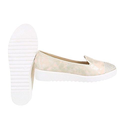 Ital-Design Slipper Damenschuhe Slipper Slipper Halbschuhe Gold