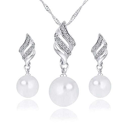 Liquidazione offerte, fittingran collana + orecchini gioielli set donna di lusso a forma di spirale orecchini pearl stud & collana gioielli (argento, come mostrato 2)