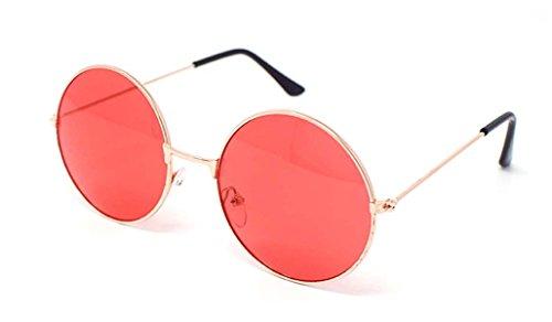 Ultra® Gold umrahmt von roten Linsen Erwachsene Retro Runde Sonnenbrillen Full Mirror Lens John Lennon Style Vintage look Qualität UV400 Sonnenbrillen für Männer Frauen