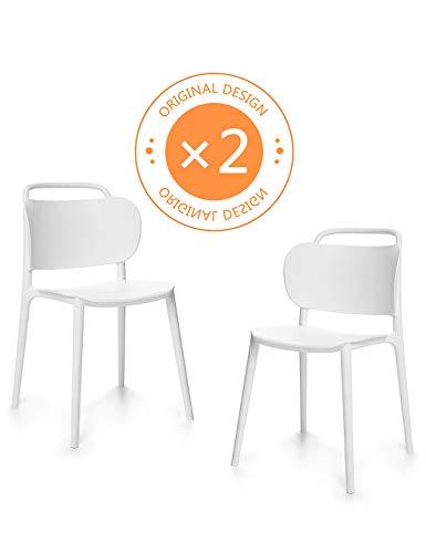 Suhu Stuhl Retro 2er Set Esszimmerstühle Esszimmer Designer Sessel Esstisch Stühle Modern Küchenstühle Stapelstuhl Gartenstuhl Loungesessel Esszimmerstuhl Vintage Schalenstuhl Essstühle Plastik Weiß