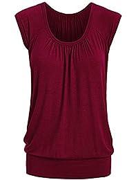 TOPKEAL Camisas Mujer Manga Corta Cuello Redondo SóLido El Verano Blusas Mujeres Pleats Ruffed Tops Camisetas