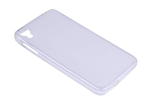 Lusee® Silikon TPU Hülle für Alcatel 6039Y Onetouch Idol 3 4,7 Schutzhülle Case Cover Protektiv Silicone Backcover + Gratis Touchpen Eingabestift sowie Staubschutz halb transparent weiß