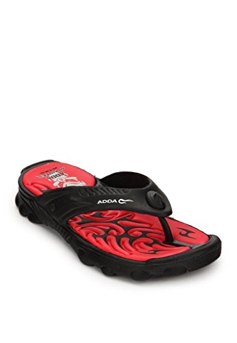 Adda Men's Black Red synthetic house slippers and Thong Sandals 9 uk