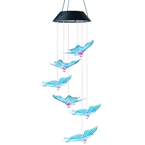 Altsommer Solarbetriebenes LED-Windspiel, tragbares Farbwechsel Solar Powered Mobile Windspiele LED Hängeleuchte Nacht für Outdoor Indoor, Balkon, Hause,Garten, Partydekoration - Schmetterling