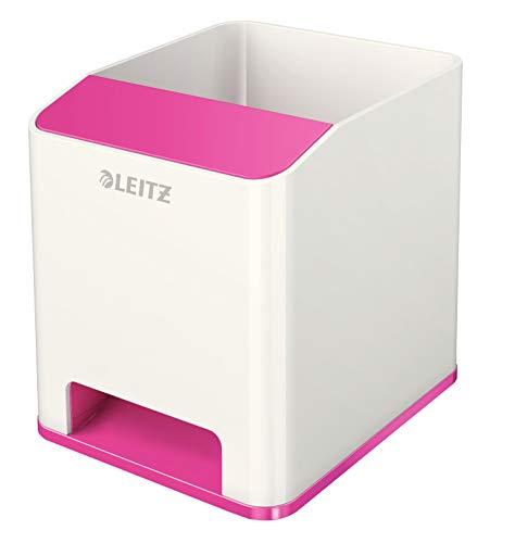 Leitz 53631023 Sound Stifteköcher (Soundverstärkungsfunktion, WOW) weiß/metallic pink