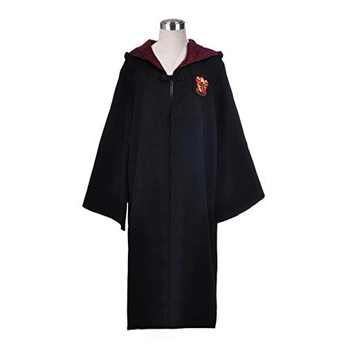 (WMAOT Zauberer Mantel Schwarz Robe für Magier Unisex Erwachsene Kostüm Langer Umhang mit Kapuze (ROT, M))