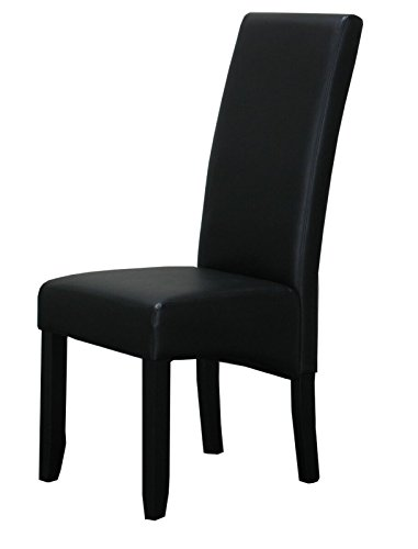 Dynamic24 2X Esszimmerstuhl Kunstleder Küchen Esszimmer Stuhl Stühle Küchenstuhl Schwarz