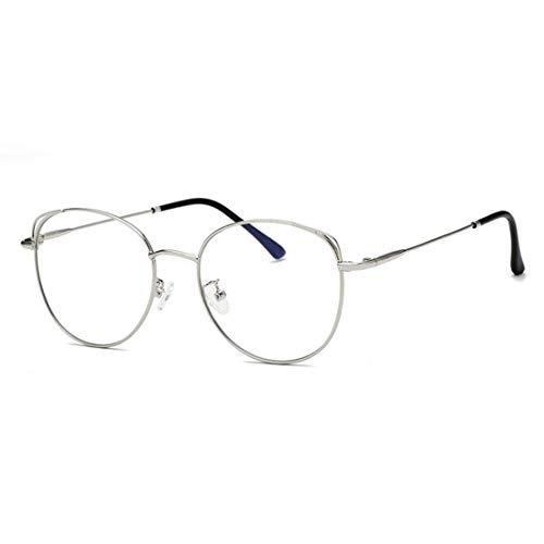 Mkulxina Anti-Blue Light Glasses Metall Männer und Frauen Brillen gestalten Computergläser (Color : Silver)