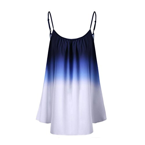 KaloryWee Women's Strappy Gradient Tie Dye Ombre Sleeveless Tank Top T-Shirt Summer Cami Vest Tops