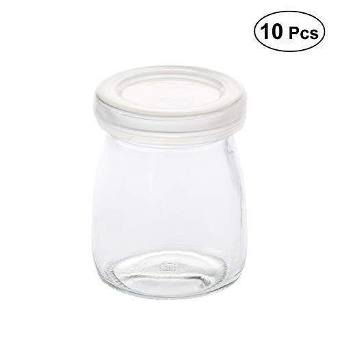 Miji Bottle 10pcs 100ml Leche Copa de contenedor de porciones de Vidrio con Tapas para Yogurt de Jalea Mousses (Blanco)