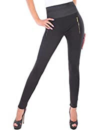 BD High Waist Damen Hose Jeggings Leggings in schwarz mit Zierzippern Body Shape